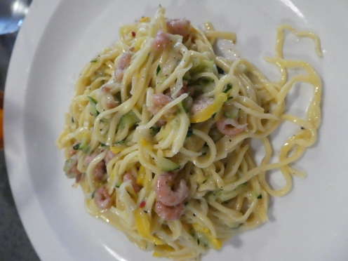 Tagliarini with raw grated courgette, brown shrimp and chilli