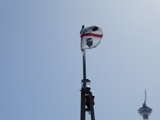 Sardinian flag on the boat