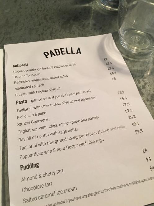 Padella menu