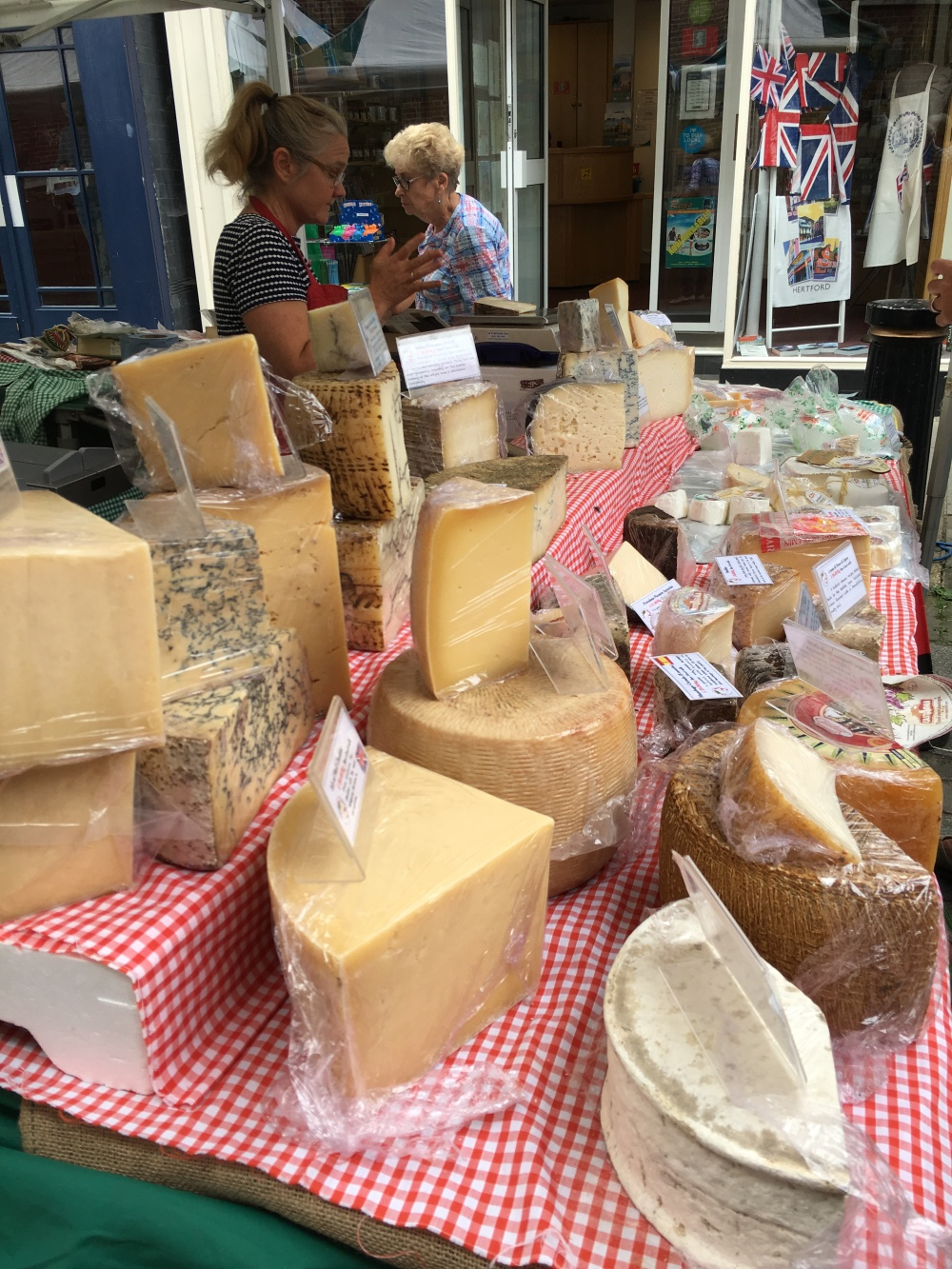 cheese stall at farmers market