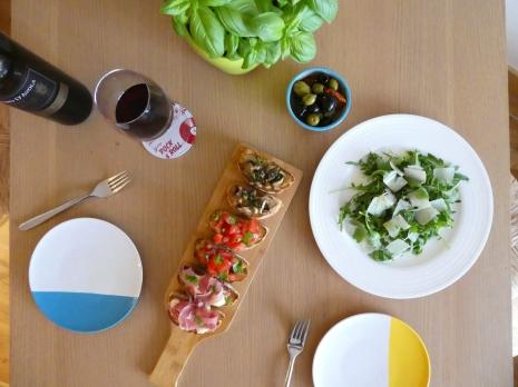 Bruschetta board, olives and wine