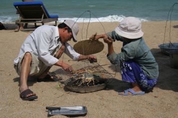 Fresh fish on the beach in Vietnam