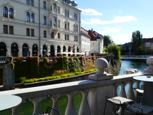 River banks of the old town in Ljubljana, Slovenia