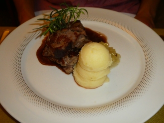 Wild boar with mashed potato and terrano sauce