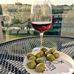 red wine and olives