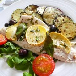 Seabass with lemon and roasted veg