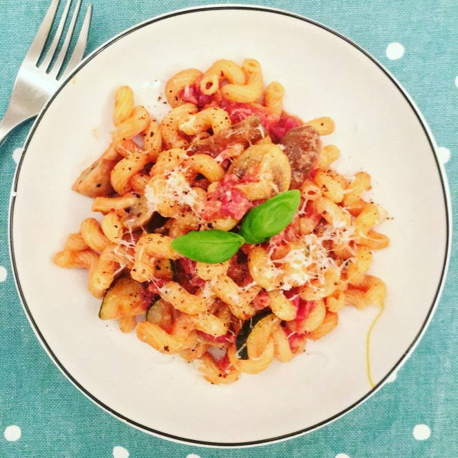 spirali pasta with homemade pasta sauce