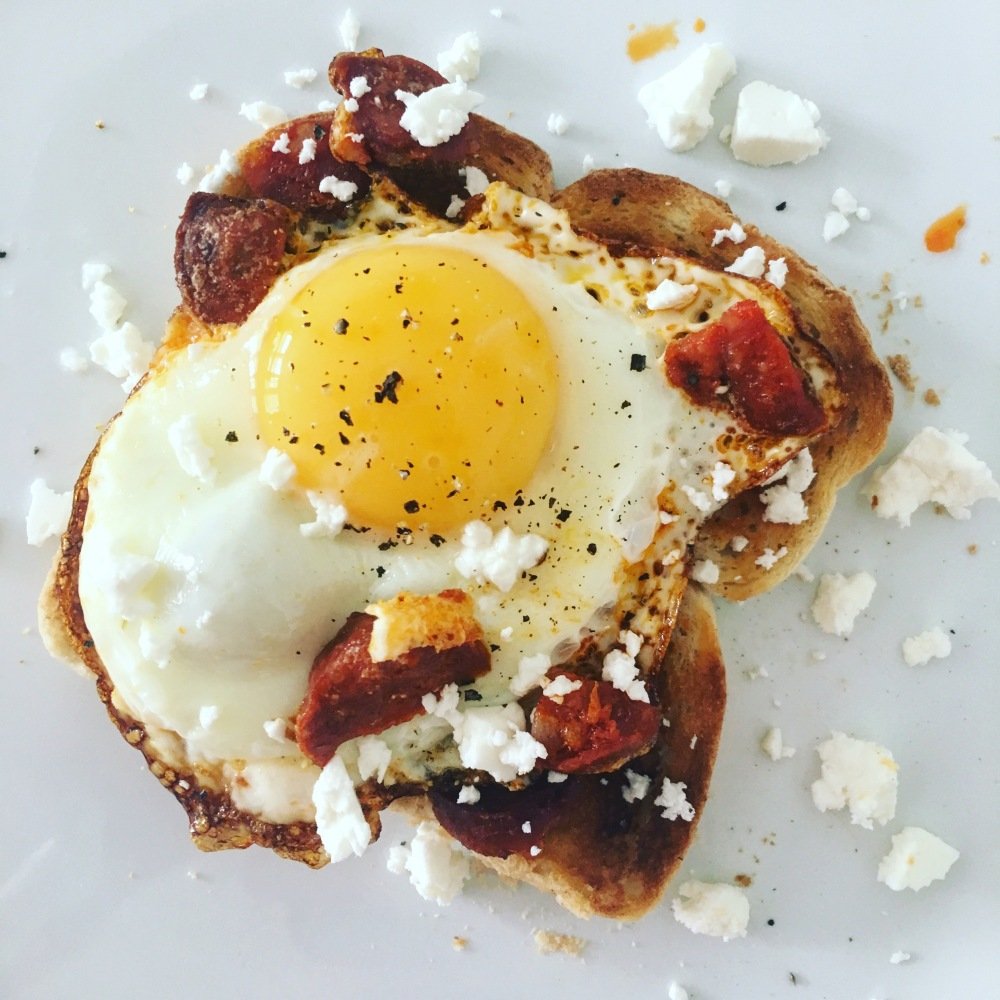 Fried egg and chorizo