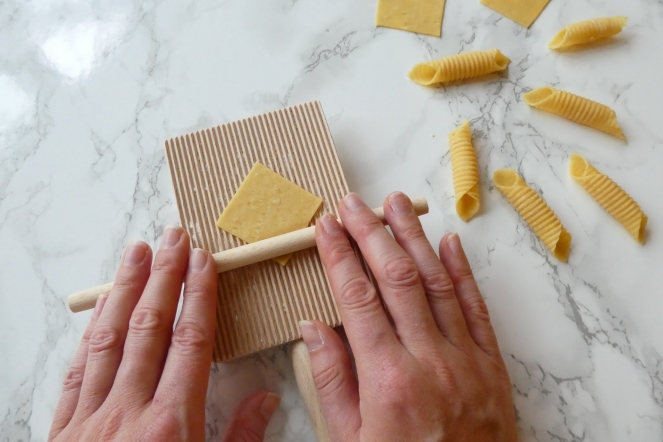 Rolling homemade fresh pasta