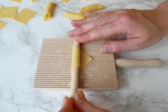 Rolling garganelli pasta shapes