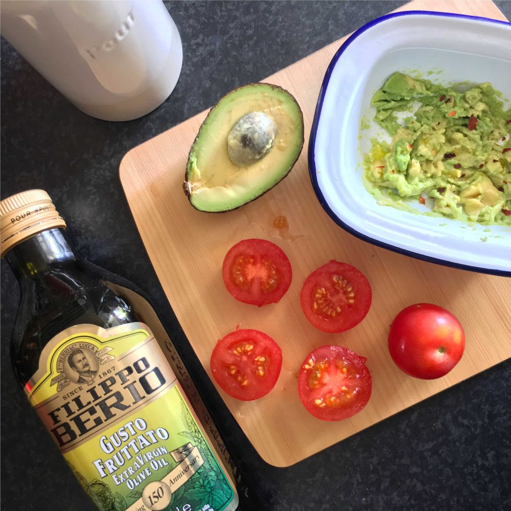 olive oil, avocado, tomato