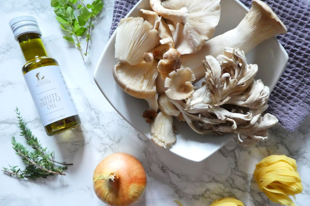 Ingredients for mushroom and thyme tagliatelle