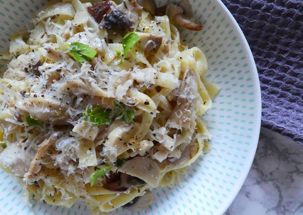 Mushroom and thyme tagliatelle