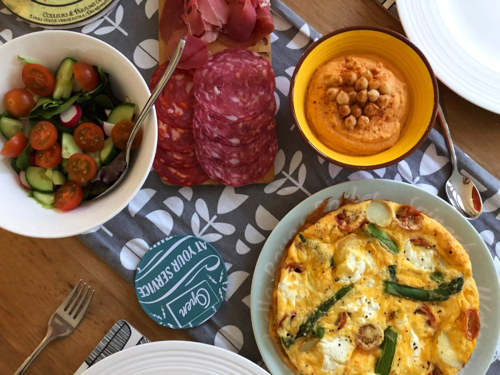 Asparagus and goats cheese frittata lunch spread