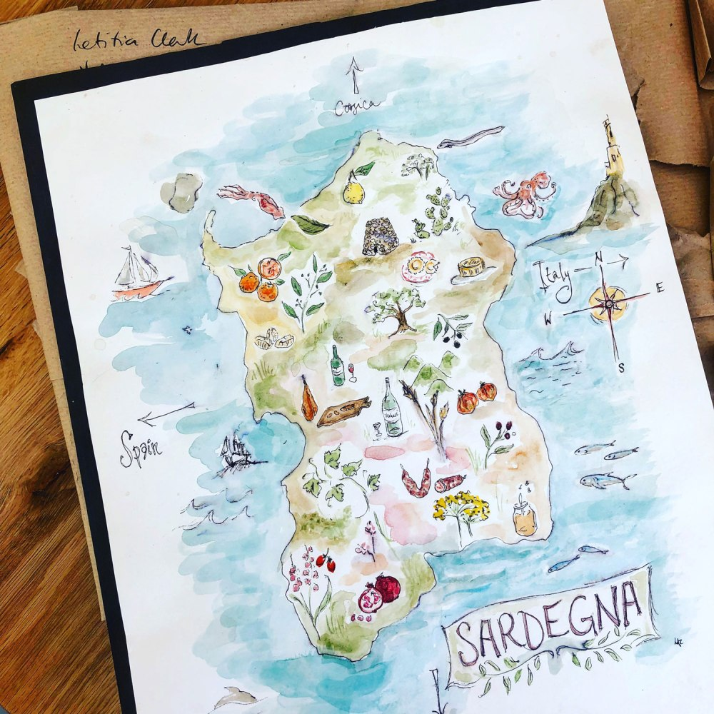 Hand painted watercolour map of Sardinia by Letitia Clark