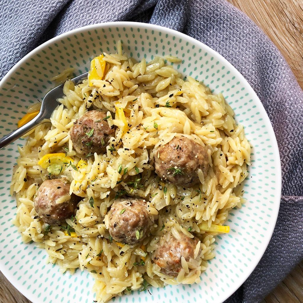 Lemon, thyme and pork meatballs with orzo