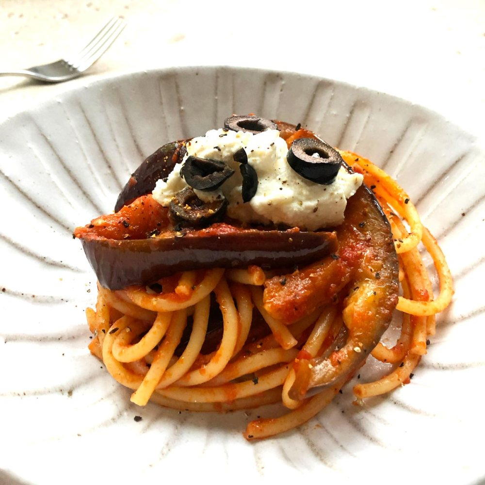 Bucatini pasta, aubergine and olive
